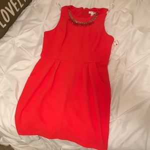 NWT Bisou Bisou Coral Dress w/ Necklace size 14